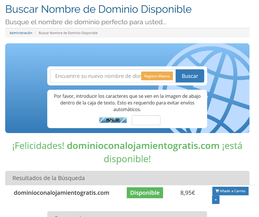 tutorial registrar alojamiento gratis buscar nombre de dominio disponible en seidonet